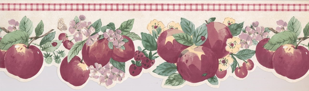 Red Apple Strawberry Cherry KR2279B Wallpaper Border