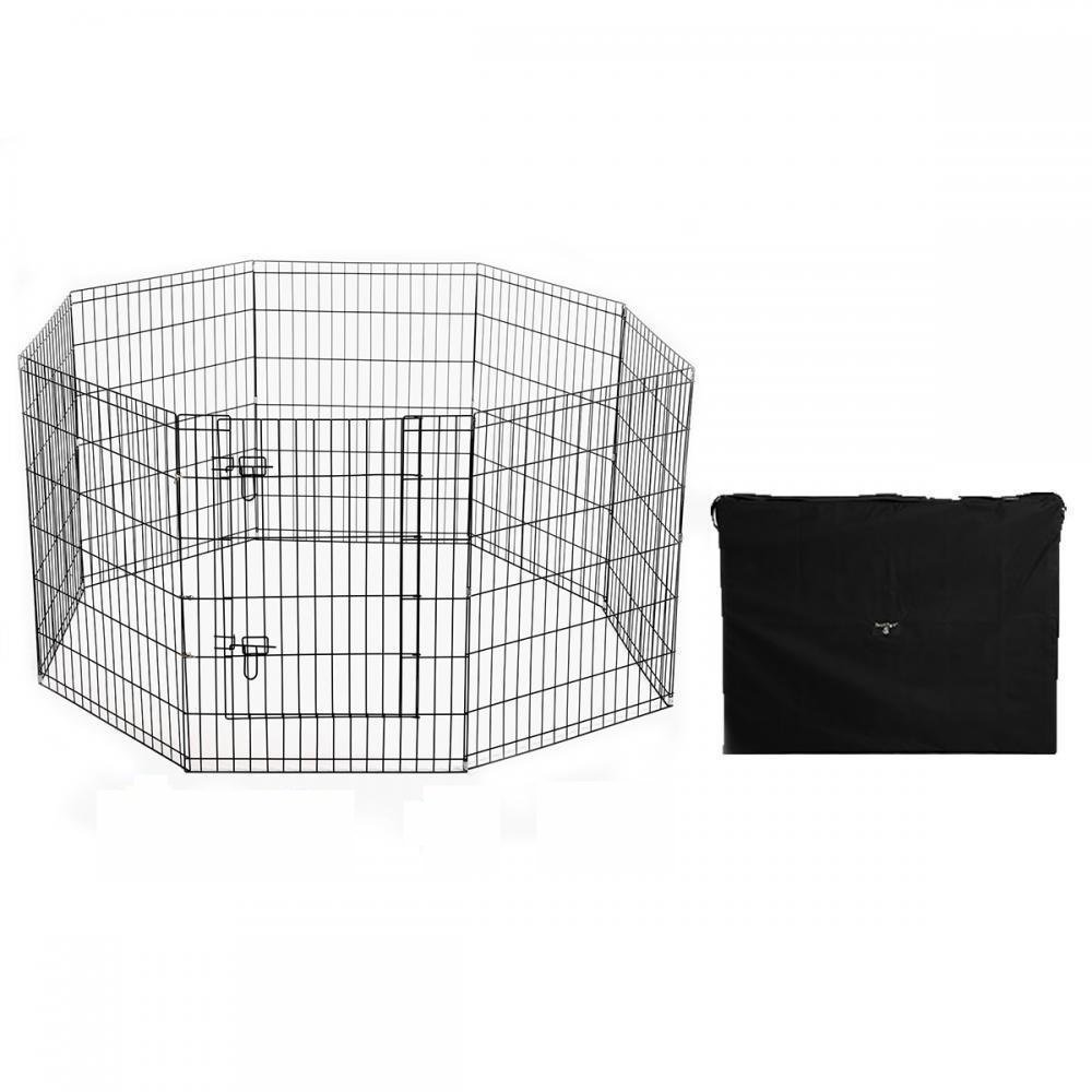 Black Pet Dog Fench Flding Metal PlayPen Yard 8 Panel With Carry Case