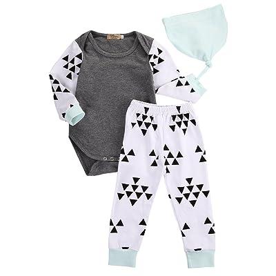 3pcs Newborn Infant Kids Baby Boy Girl Clothes Tops Romper+Pants+Hat Outfits Set