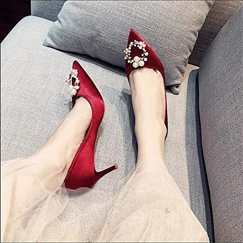 Corte Con Poco Hhgold Finos Imitación Altos Rojos Femeninos Frescos 38 Profunda Tacones Boca De Zapatos Diamantes Boda Pequeños Puntiagudos XqxwwYEv