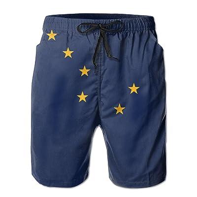 Alaska Flag Beach Shorts Borad Shorts Swim Trunks With Pocket