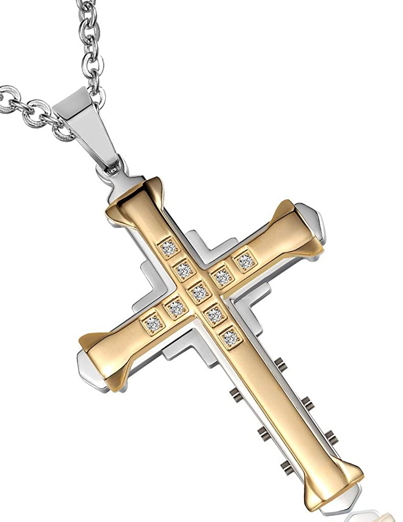 Epinki Mens Stainless Steel CZ Cross Pendant Necklace Width 4.1CM Height 5.3CM,3 Colors Optons
