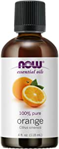 NOW Essential Oils, Orange Oil, Uplifting Aromatherapy Scent, Cold Pressed, 100% Pure, Vegan, Child Resistant Cap, 4-Ounce