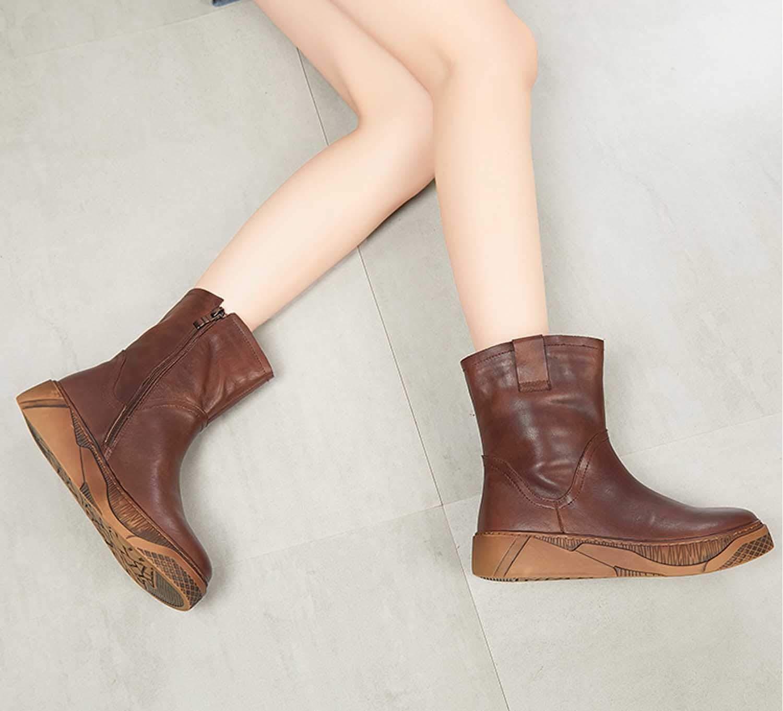 damen es Ankle Stiefel, Vintage Riding Stiefel Zipper Leder Leder Leder Sole braun Größe 35-40  b3429f
