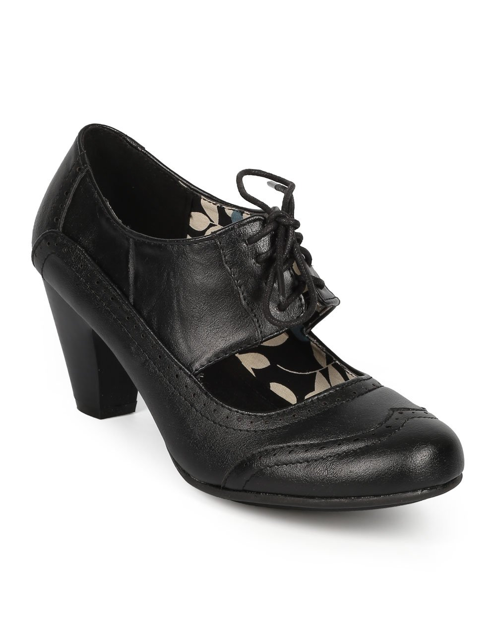 Refresh Women Leatherette Cut Out Lace Up Chunky Heel Spectator Pump CH01 - Black Leatherette (Size: 5.5)