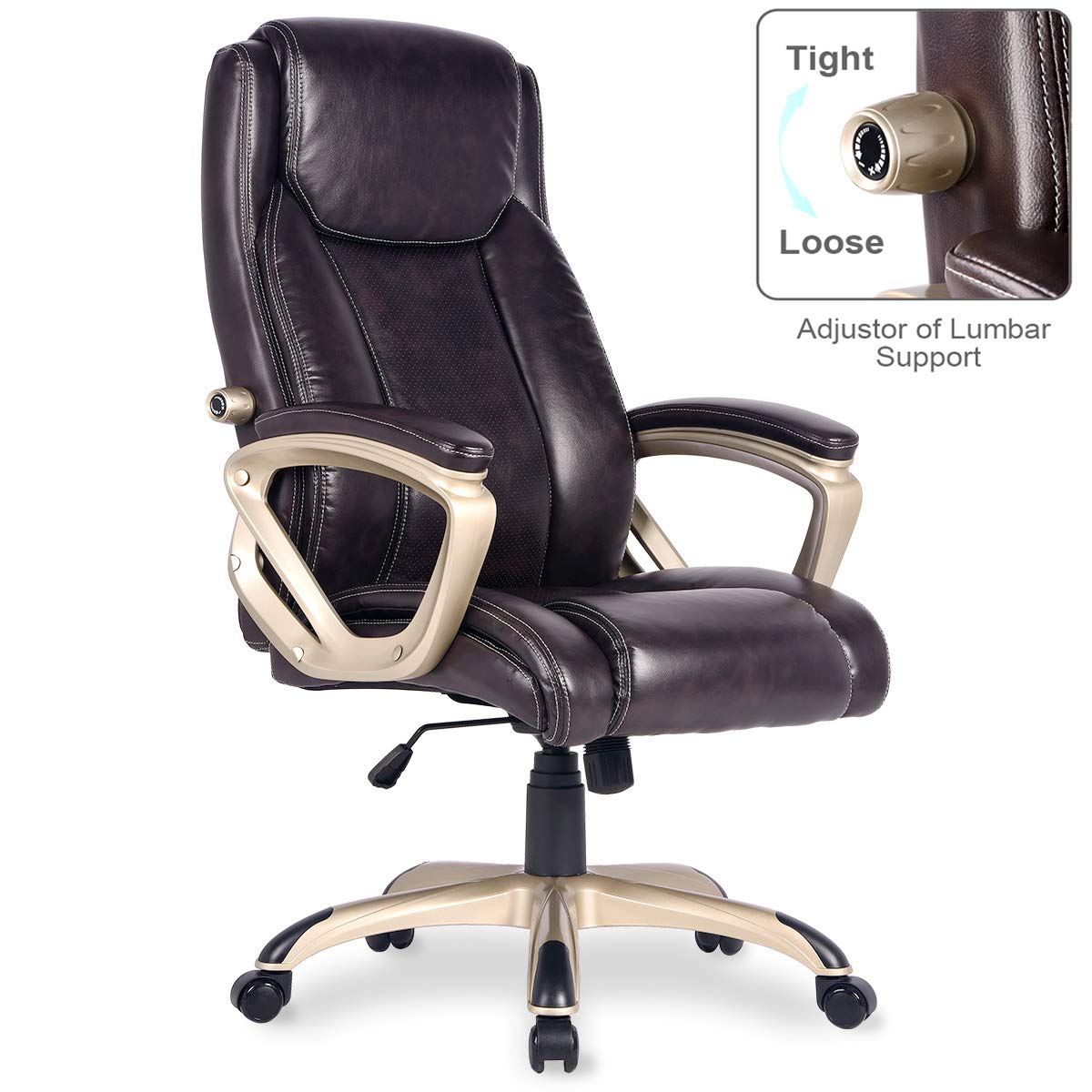 PU Leather Executive Office Chair Desk Task Computer Chair Swivel High Back Chair with Ergonomic Adjustable Lumbar Support Brown