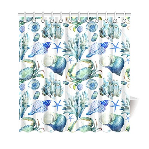 Well Wreapped InterestPrint Sea Ocean Home Decor Watercolor Seashell Coral Crab Polyester Fabric Shower