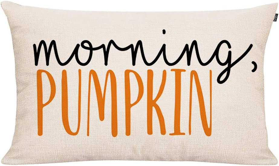 GTEXT Fall Throw Pillow Cover Autumn Decor Watercolor Pumpkins Morning Pumpkin Pillow Cover 20x12 inch Outdoor Pillow Linen Square Pillow Cover for Cushion,Sofa Fall Pillow Cover