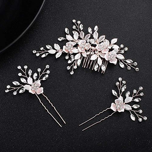 CHUMIRRYKIDS Crystals Bridal Wedding Jewelry Hair Accessories (Rose gold) Crystal Bridal Wedding Jewelry