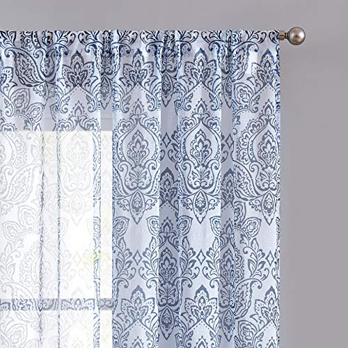 ECODECOR Blue-Pattern Damask Print Sheer Curtain 63 inch for Bedroom Linen Look White Vintage Pattern Window Drapes for Living Room Rod Pocket 2 pcs (Panels Curtain Sheer Print)