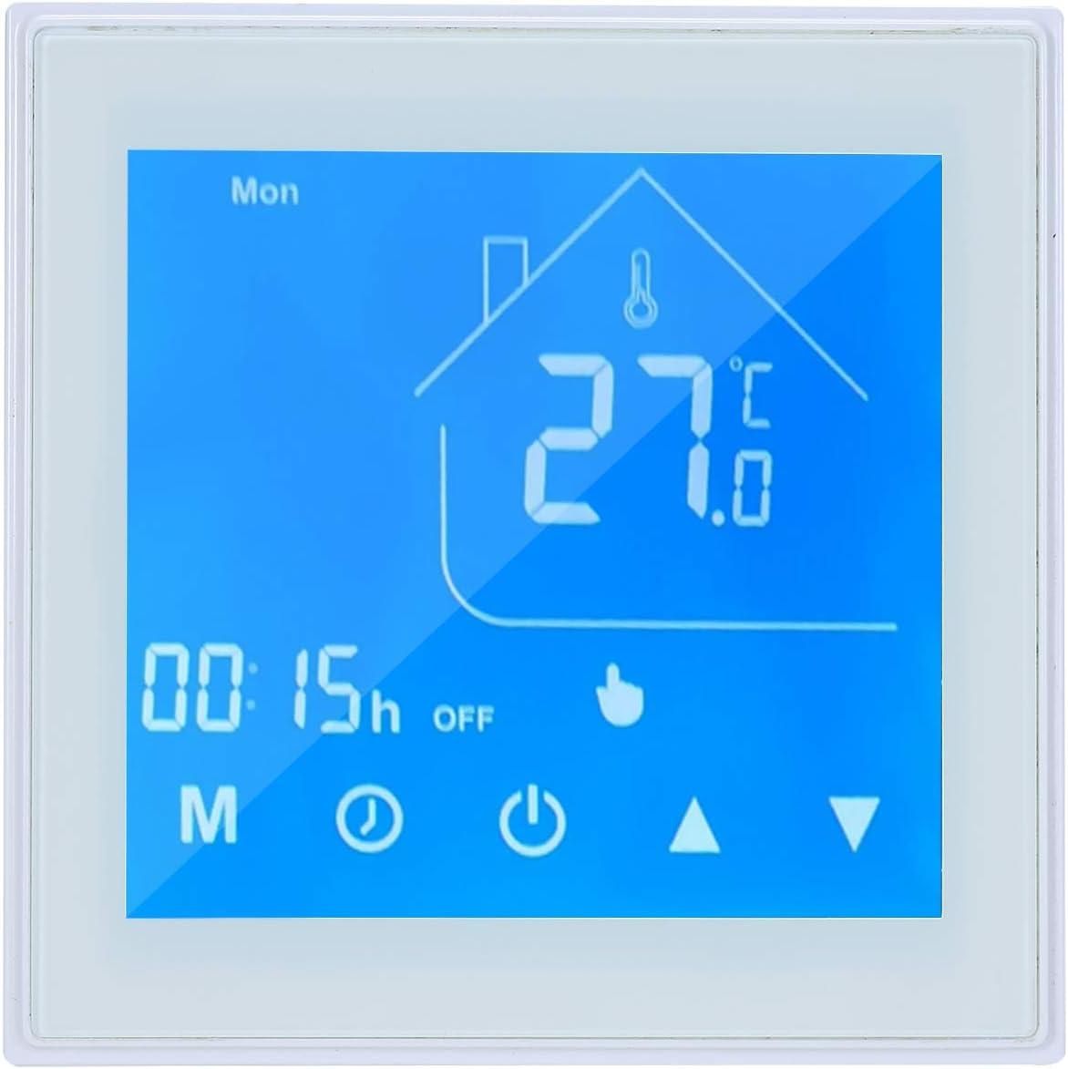 Lechnical Termostato Inteligente WiFi Controlador de Temperatura Pantalla LCD Semana programable para Caldera de Agua/Gas Control de la aplicación Tuya Compatible con Alexa Google Home
