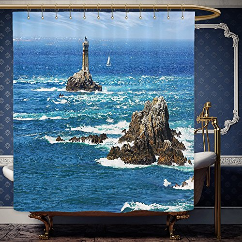 Wanranhome Custom-made shower curtain Lighthouse Bright Daytime Lighthouse Wavy Ocean View Clear Sky Rocky Islands Sailboat Blue Gray White For Bathroom Decoration 60 x 72 - Net John Lewis Curtains