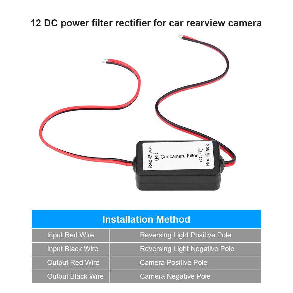 Raddrizzatore del filtro del condensatore del rel/è di potere di CC 12V per il nero inverso della macchina fotografica di retrovisore dellautomobile