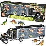"Prextex 16"" Tractor Trailer Dinosaur Carrier with 6 Mini Plastic Dinosaurs"