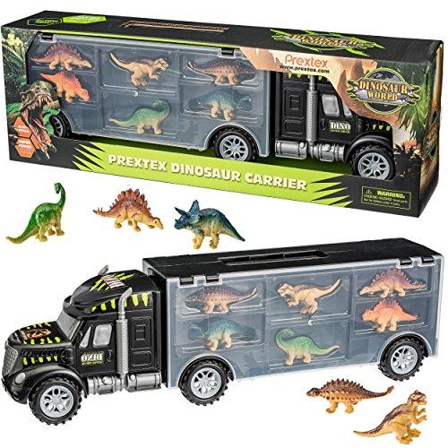 "Prextex 16"" Tractor Trailer Dinosaur Carrier with 6 Mini Plastic Dinosaurs ()"