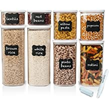 Shazo Airtight Container Set for Food Storage - 8 Piece Set + FREE 18 Chalkboard Labels & Marker - Strong Heavy Duty Plastic - BPA Free - Modular Design Storage - Clear Plastic w/Visual Window