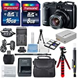 Canon PowerShot G16 12.1MP CMOS Digital Camera with 5x Optical Zoom and 1080p Full-HD Video Wi-Fi Enabled USA Warranty +24GB SDHC & AC/DC Travel Charger + Extra Battery (NB-10L) + Deluxe Accessory kit