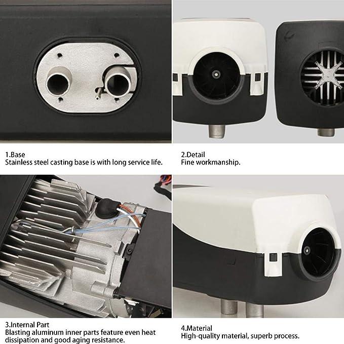 Barcos flower205 Temporizador Calentador de autom/óvil 5KW 12V // 24V Aire Diesels Calefactor Calefactor de estacionamiento con Control Remoto Monitor LCD para RV Remolque de Autocaravana Camiones