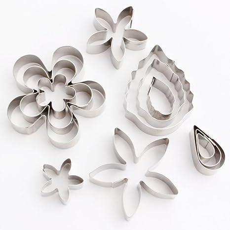 Cortadores de galletas, yoohome Juego de 12 Mini flores y hojas cortador de galletas,