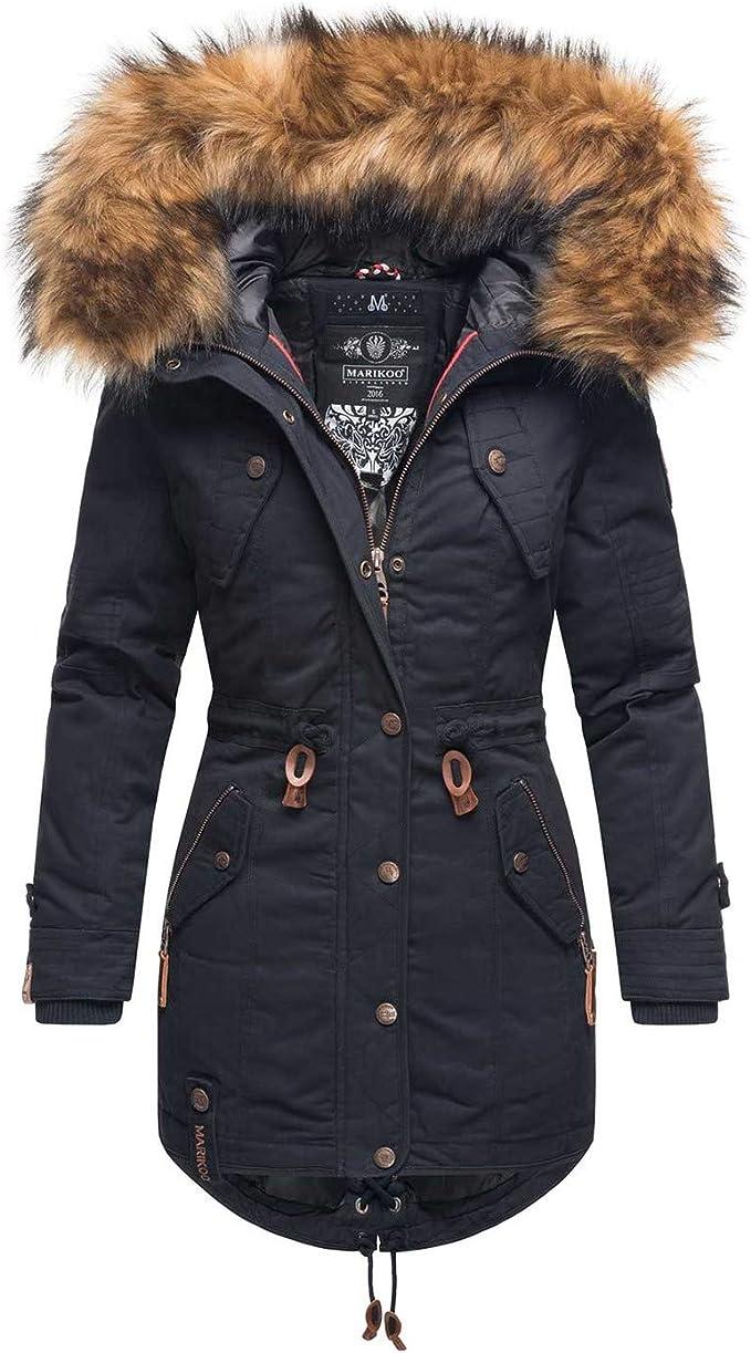 Marikoo Warme winterjas voor dames, parka, mantel, kunstbont
