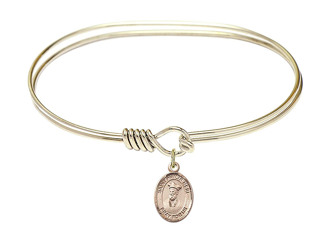 DiamondJewelryNY Eye Hook Bangle Bracelet with a St Philip Neri Charm.