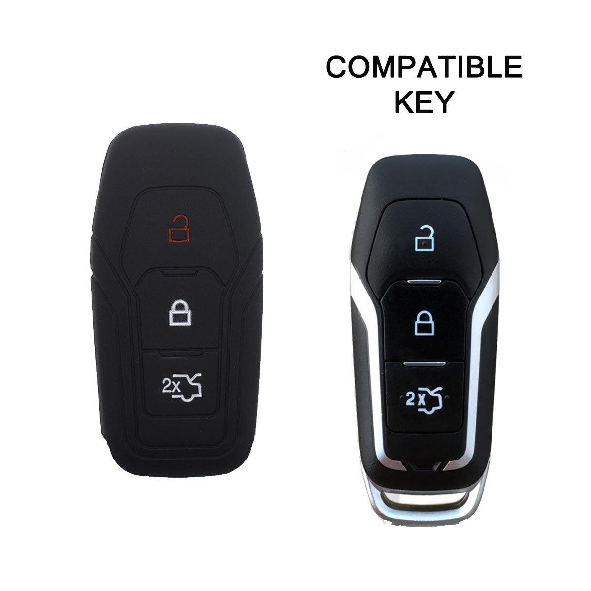 Coque de Silicone Cover Cl/é pour T/él/écommande Ford Kuga Mondeo Focus Ka B-Max Edge Fiesta Galaxy Mustang S-Max Bleu 3 Boutons