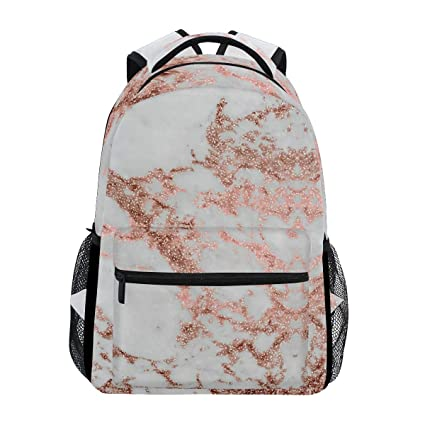 6427c09d7fba Amazon.com: White Marble Rose Gold Trekking Backpack Fashion ...