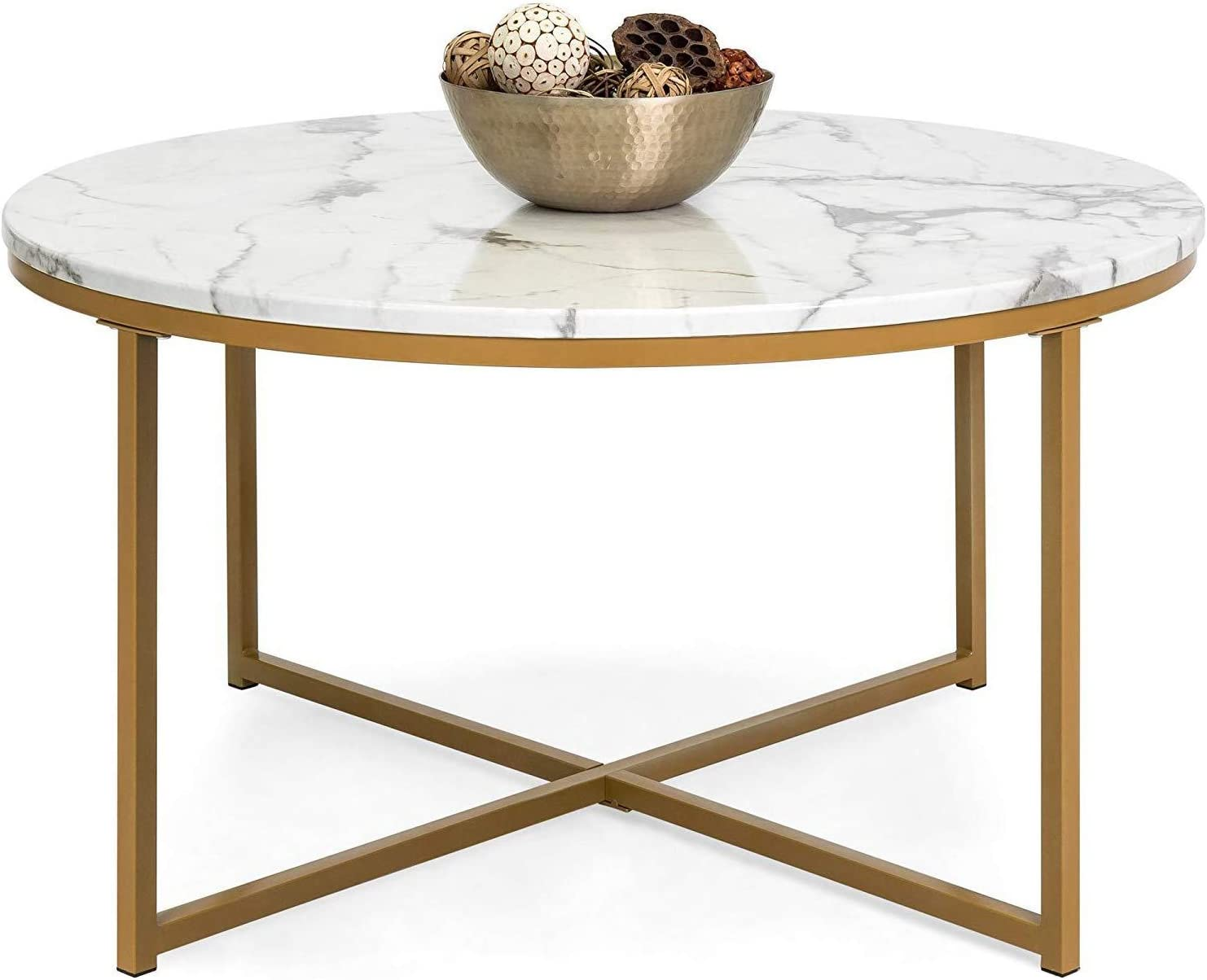 Faux Marble Coffee Table With X Base Mid Century Modern Round