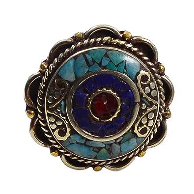 ea79643bceb986 silvesto Inde Lapis Lazuli, corail, turquoise et bague en plaqué argent 925  9 PG