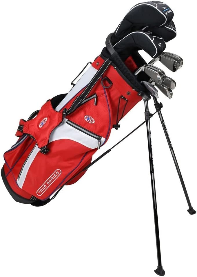 Amazon Com Us Kids Golf Tour Series Tour Series 10 Club Stand Junior Set Bag With Graphite Steel Shafts 5 Sw Red White Navy 57 60 Sports Outdoors