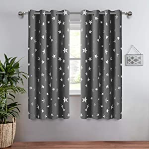 Anjee 2 Panels Silver Star Curtains for Kids Room Thermal Insulated Blackout Curtains Perfect for Space Themed Room Décor (Light Blocking and Noise Reducing) W52 x L45 Inches Space Grey