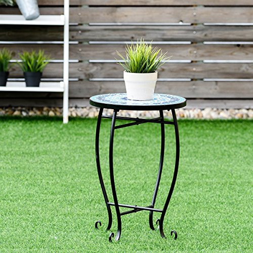 (Custpromo Mosaic Accent Table Metal Round Side Table Plant Stand Cobalt Glass Top Indoor Outdoor Garden Patio Table (Ocean Fantasy))