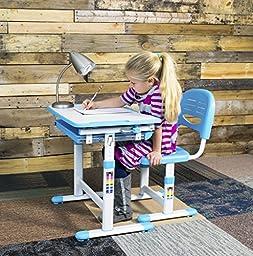 VIVO Height Adjustable Childrens Desk & Chair Set   Kids Interactive Work Station Grey (DESK-V201G)