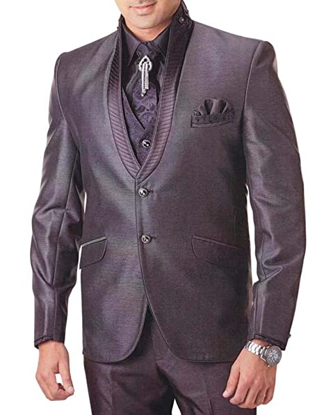 INMONARCH Hombres Smoking Traje Gris Pizarra Moderno 7 PC ...
