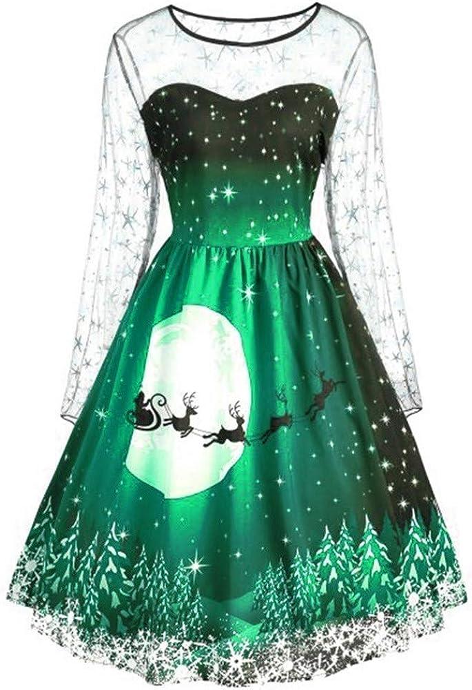 Fashion Women Vintage Merry Christmas Print Long Sleeve Mesh Evening Party Dress