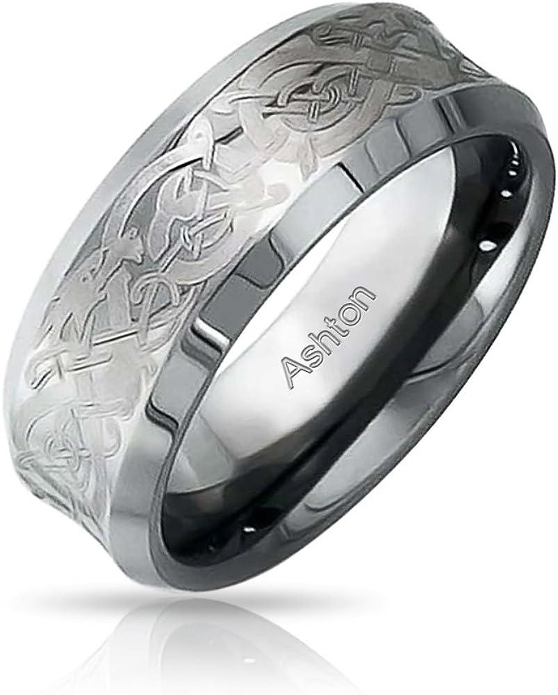 Bling Jewelry Ton Argent Noeud Celtique Inlay Dragon Concave des Couples De Mariage Anneaux De Tungst/ène pour Femme Homme 8MM