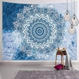 Blue Mandala Wall Tapestry Indian Hippie Bohemian Tapestry Boho Tapestries Flower Psychedelic Art Decor Wall Hanging for Dorm Living Room Bedroom
