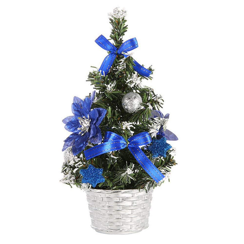 20cm Tabletop Artificial Christmas Tree Decorations Festival Mini Pine Tree w/Multicolored Ball Five Star Flower Bowknot Party Ornament (Blue, 20cm)