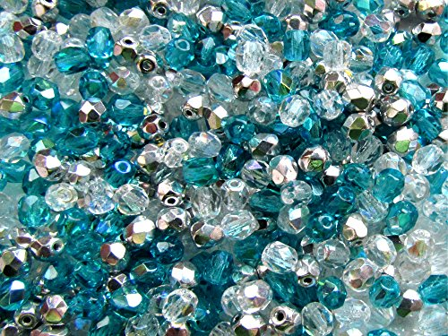 ss (600pcs) Mix of three colors 4MFP402 Czech Fire-Polished Faceted Glass Beads Round 4 mm, 4FP002,4FP008,4FP033 ()
