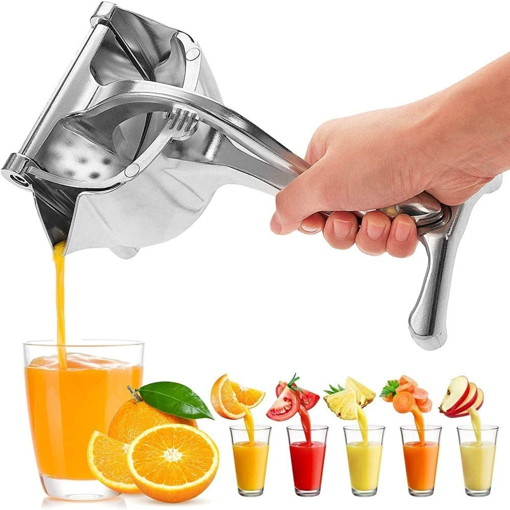 Zhiwei Manual Fruit Juicer with Measuring Cup Stainless Steel Fruit Juicer with Platinum Crate Juicer Hand Juicer-Easy Fresh Fruit Juicer Press Handheld Fruit Juice Squeezer for a Healthy DIY Citrus Juicer