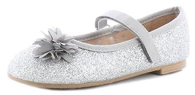 da29df47873c5 Princess Stardust New Younger Girls/Childrens Silver Glitter Ballerina  Style Shoes - Silver/Glitter - UK Sizes 4-12
