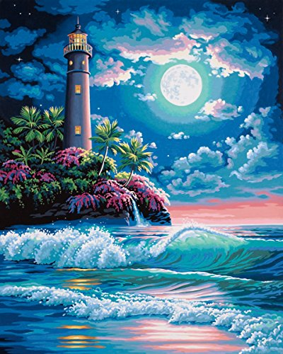 Dimensions Lighthouse in the Moonlight Paint by Numbers for Adults, 16'' W x 20'' L