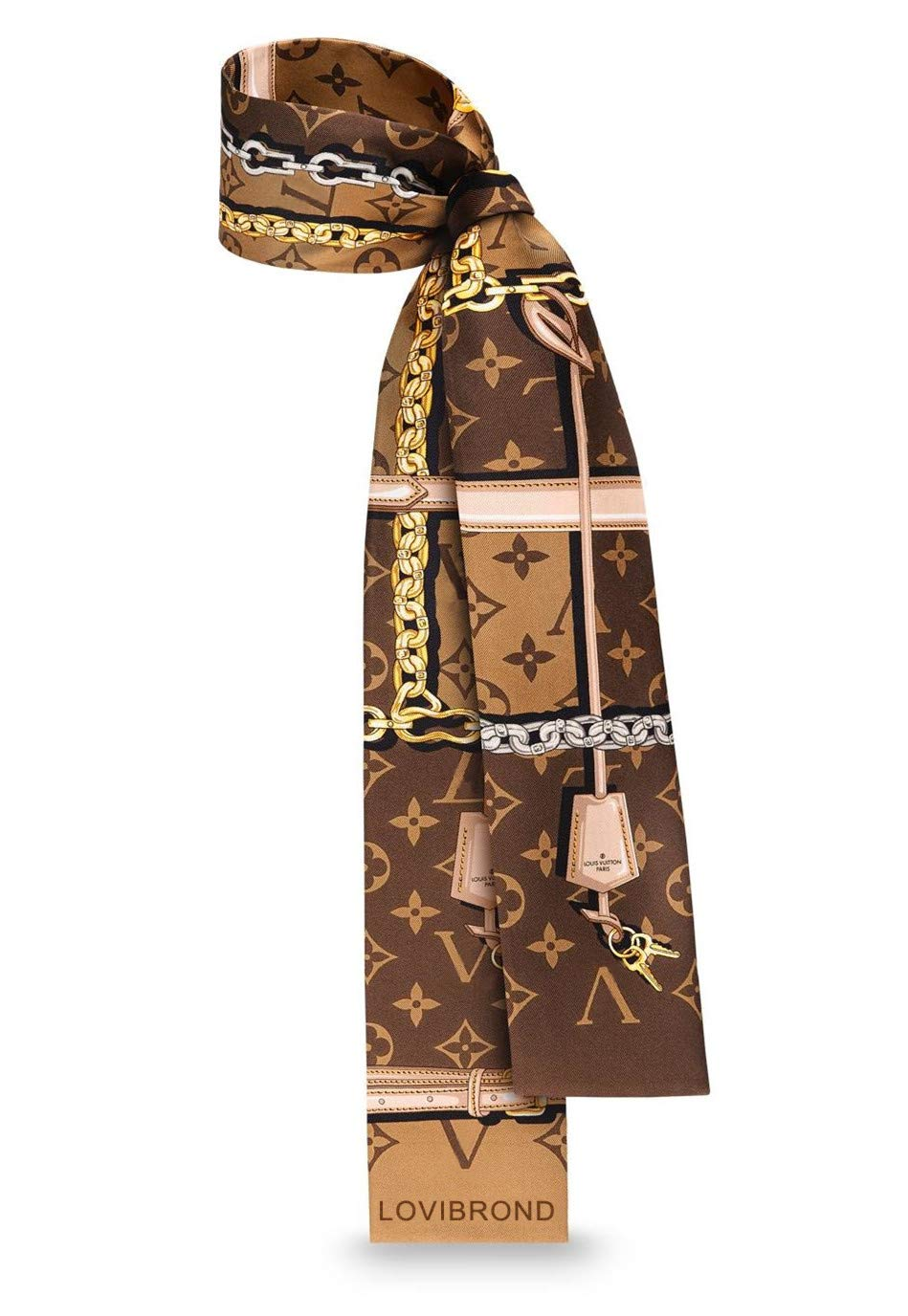 Luxury Fashion LOVI TRUNKS MONOGRAM CONFIDENTIAL SILK Brown BANDEAU Headband Slim scarf wrist ornaments bag complement M78655