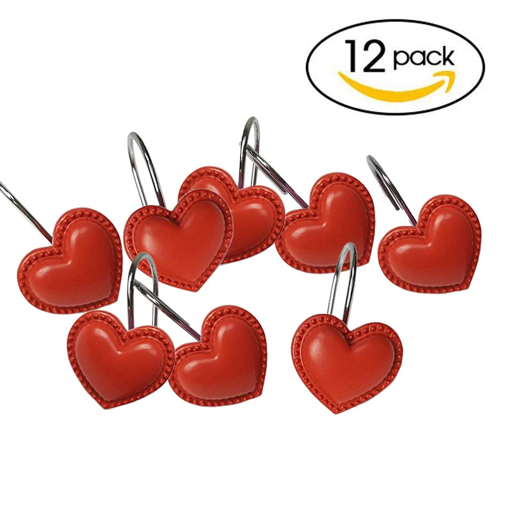 chictieのセット12シャワーカーテンフックリングLovely Heart Shape錆防止バスルーム装飾Hangers Great Girlギフトfor Valentineクリスマス レッド  レッド B076JF1718