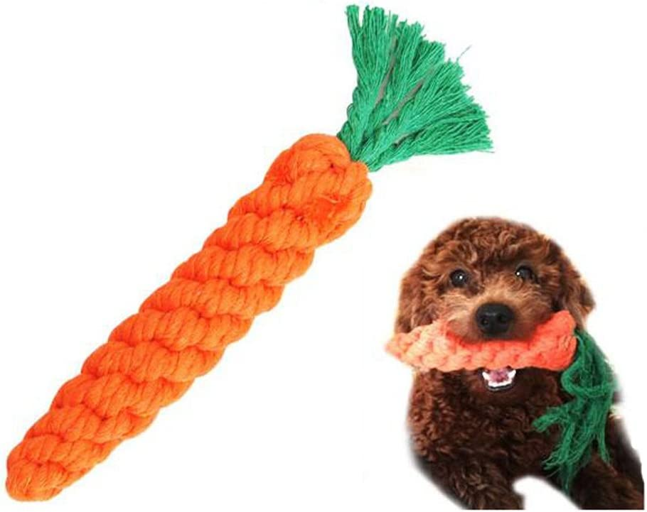 Puppy Teething Chewing Safe Durable Braided Pet Medium Large Cat Cotton Knot Paws Fun Molar for Clean Teeth Health Pet Care Handmade Gift Dog Chew Toys Carrot Rope