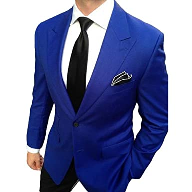 182fd428237 Yanlu Royal Blue Groom Tuexdos 2 Pieces Men Suit Jacket Pants Wedding Suits  (Chest34