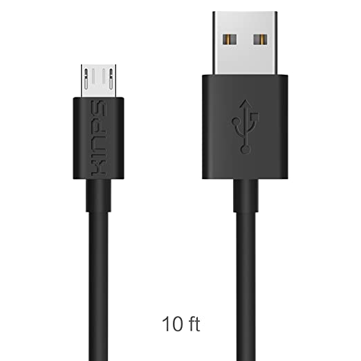 15 opinioni per Kinps® Premium 10FT/3M 2.0 A Extra Long High Speed Black Micro USB Data Charging