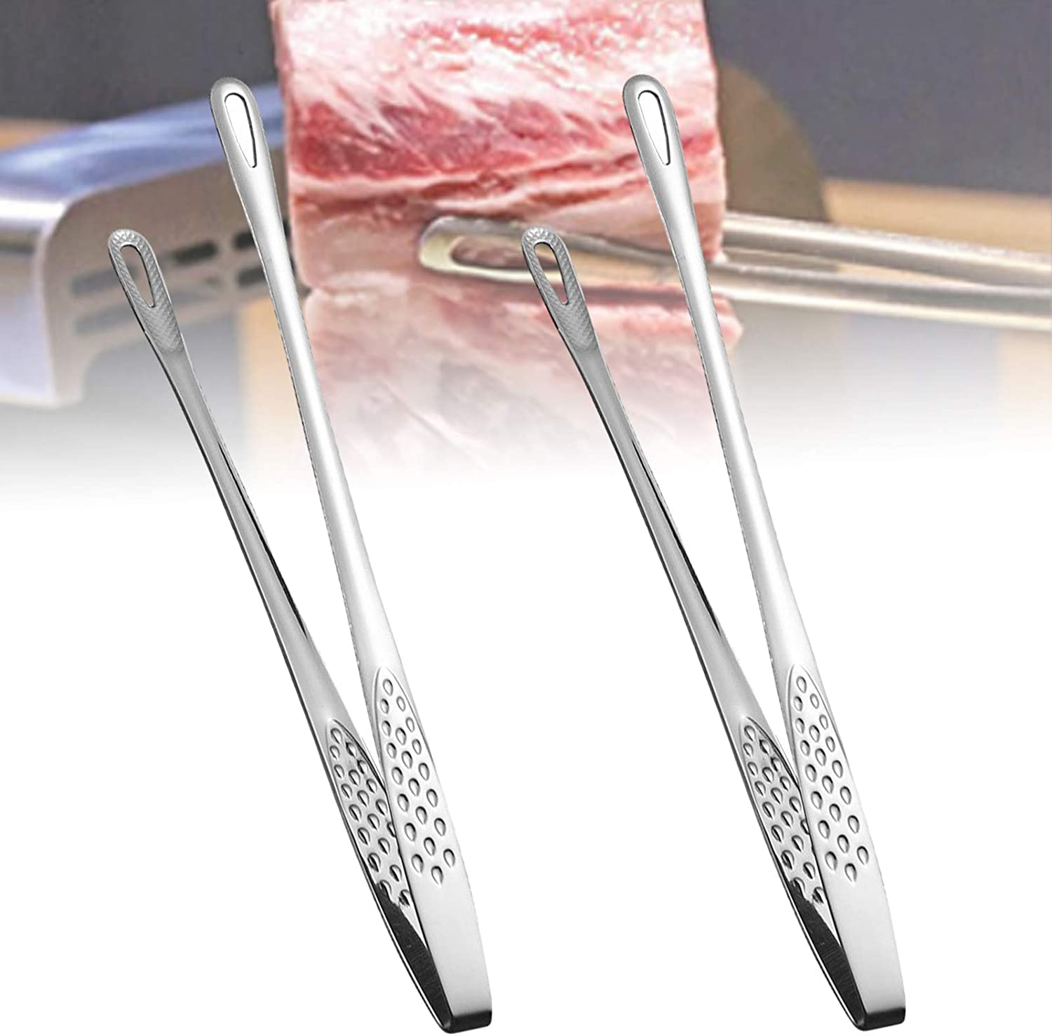 2 Pcs Stainless Steel Food Tongs for Cooking, 11 Inch Toaster Tongs, Cooking Tweezers, Kitchen Tool Anti-Heat Bread Clip Pastry Salad Clamp Barbecue Kitchen Tongs