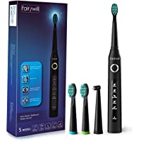 Fairywill FW-ET507 Rechargeable Electric Sonic Toothbrush with 3 Brush Heads (Black)