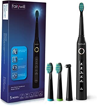 Fairywill Rechargeable Sonic Toothbrush with 3 Brush Heads